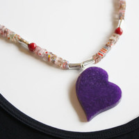 Amethyst Millifiori Cubes/ Beaded Necklace / Purple Jade Heart/ Handmade Necklace/ Summer Jewelry/ Beach Accessory/ Fashion Jewelry