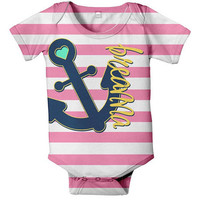 Nautical Anchor Onesuit, Personalized Baby Girl's Clothing