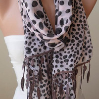 Light Salmon - Beige - Silk - Chiffon Dalmatian Scarf with Trim Edge