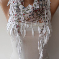 Mother&#x27;s Day - White and Flowered Scarf with White Trim Edge - Summer Colors - New