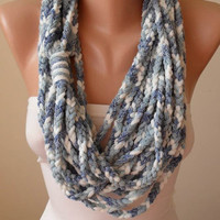 New - Mother's Day Gift -Light Blue and White Chain Infinity Scarf  - Crochet Scarf