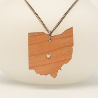 Ohio Cherry Wood or Acrylic State Love Necklace with Heart - 5 Woods and 60 Acrylics - Laser Cut Jewelry