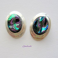 Iridescent Handmade Oval Sterling Silver Dichroic Glass Post Earrings