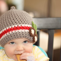 Buckeye Ohio State Nub Tip Beanie  (Crocheted to Order in sizes NEWBORN- TODDLER)
