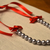 Ohio State Bella: Beautiful Gray Pearl Little Girl Necklace with Red Ribbon