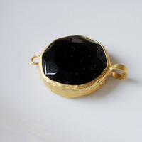 Gold plated with black jade connector by 1dream on Etsy