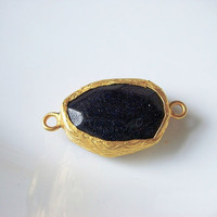 Gold plated with black stone connector by 1dream on Etsy