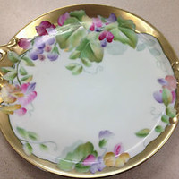 ANTIQUE PT BAVARIA Germany Hand Painted Flowers Plate/Platter