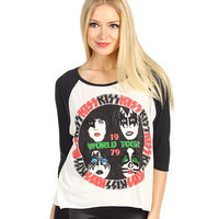 House of the Gods Kiss 1979 World Tour L/S Raglan Crop Top