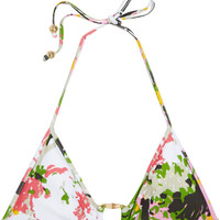 Milly Antibes printed triangle bikini top  60% at THE OUTNET.COM