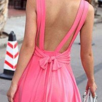 Pink Backless, Strap Dress with Flare Skirt