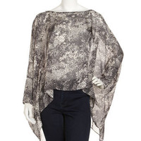 Sabrina Print Silk Blouse, Black