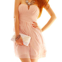 Hi,Showme — Pink Strapless Cocktail Dress