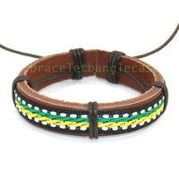 Leather bracelet with brown leather and ropes cuff bracelet for women wrist bracelet friendship gift jewelry bracelet  d-352