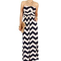 Pre-Order:Navy/White Strapless Chevron Maxi Dress