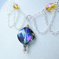 Purple &amp; Amber Crystal Silver Chain Victorian Style Necklace