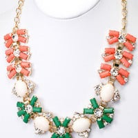 Middleton Cluster Necklace - Peach + Green -  $27.00 | Daily Chic Accessories | International Shipping