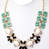 Middleton Cluster Necklace - Mint + Black -  $27.00 | Daily Chic Accessories | International Shipping