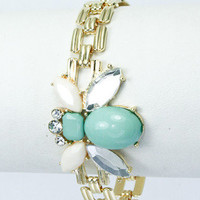 Bee&#x27;s Knees Bracelet - Mint + White -  $16.00 | Daily Chic Accessories | International Shipping