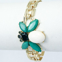 Bee's Knees Bracelet - White + Teal -  $16.00 | Daily Chic Accessories | International Shipping