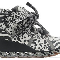Bernhard Willhelm X Camper 46489 in Black White Animal Print at Solestruck.com