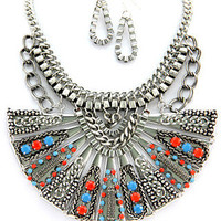 Aztec Treasure Statement Necklace - Turquoise + Coral -  $34.00 | Daily Chic Accessories | International Shipping