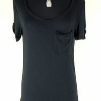 NEW! BEBE Charming Slub Jersey Tee Shirt XS X SMALL black short sleeve oversized