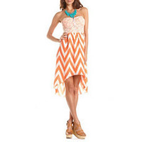 Lace Bust Chevron Hi-Low Dress: Charlotte Russe