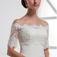 [36.99] Pretty Tulle Off-the-shoulder Short Sleeve Bridal Jacket /  Wedding Wrap With Lace Appliques - Dressilyme.com