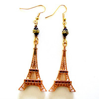 Eiffel Tower Earrings - Gold Eiffel Tower Charm - Paris Earrings - Gold Purple Glass Earrings - Spring Earring - Summer Earrings