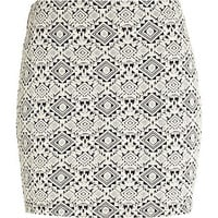 Cream geometric jacquard mini tube skirt