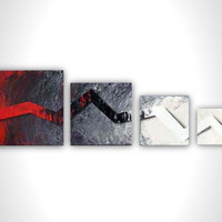Grey painting - Large abstract painting - Modern art -  red black gray white - contemporary art - stretched canvas - office art