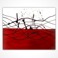 Original abstract painting - Red original painting red - Original oil painting - Original modern art - Red and white art - Splash painting