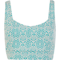 Aqua jacquard crop top
