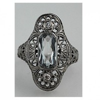 Antique 14 Kt White Gold Spinell Single Cut Diamond Ring Early 1900s | artdecodiamonds - Jewelry on ArtFire