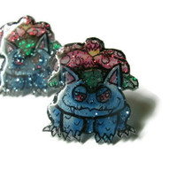 Venusaur Pokemon Stud Earrings, Shrink Plastic, Glitter Coating, OOAK,Hypoallergenic Surgical Steel Posts, Made to Order
