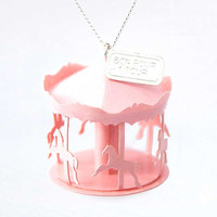 "Long origami necklace ""childhood carousel"" / petal pink / vitrified paper"