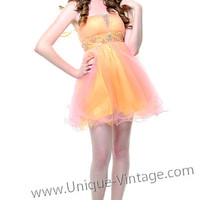 Girly Yellow &amp; Ivory Short Beaded Tulle Prom Dress - Unique Vintage - Prom dresses, retro dresses, retro swimsuits.