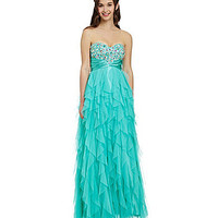 Masquerade Beaded Corkscrew Mesh Ballgown | Dillards.com