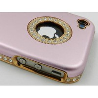 Luxury Unique Best Bling Crystal Rhinestone Aluminum Case Cover For iPhone 4 4S Verizon AT&amp;T Pink: Cell Phones &amp; Accessories