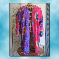 Sarong Jacket with Hot Pink and Purple Zodiac and Suns | thesunnysidebiz - Clothing on ArtFire