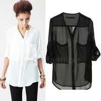 Casual Collarless Chiffon Blouse