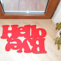 "Doormat personalized mat / rug with double message ""Hello / Bye"". Red."