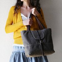 Waxed Canvas Tote with Leather Straps // Organic Cotton Lining