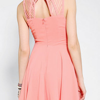 Sparkle &amp; Fade Lattice-Shoulder Skater Dress
