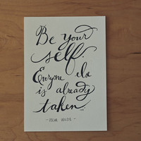 Be Yourself Quote, Oscar Wilde Quote, Book Quote, Typography Print, 5x7 Print, Hand lettered quote