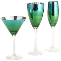 Metallic Blue-Green Stemware