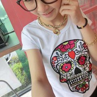 [5853-Black] Unique Skull with Floral Pattern T Shirt