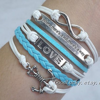 Anchor Bracelet,Love Bracelet,&quot;Where There&#x27;s a Will There&#x27;s a Way&quot;Bracelet,Infinity Bracelet-white wax rope,light blue leather bracelet
