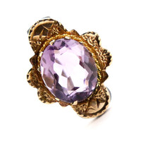 Antique Victorian 14K Yellow Gold & Amethyst Brooch - 1800s Rose De France Fine Jewelry Etruscan Revival Pin / 2 Carat Icy Purple Amethyst